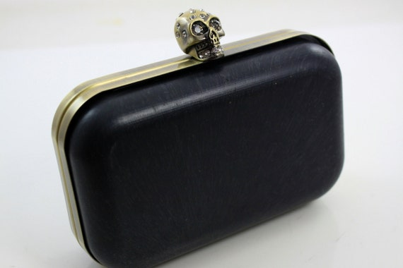 6 1/4 x 4 inches ( 16 x 10 cm) - Skull Dressing Case Antique Brass Clutch Frame with Covers (CBF-M39)