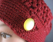 Rusty Red with fleck ladies crochet and knitted cap