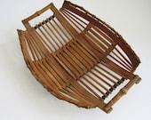 Vintage retro 1960s shallow small split bamboo cane basket