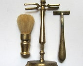 Vintage retro brass bathroom shaving set and stand