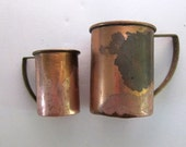 Vintage 1950s Industrial style copper and brass metal measuring cups