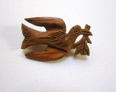 Vintage hand carved folk art peace dove wooden brooch