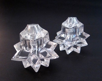 Vintage 1960s Italian clear lucite moravian multifaceted crystal star pepper and salt shakers, clear acrylic shakers
