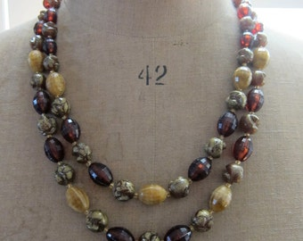 Vintage classic late 1940s W German double strand topaz and gold tone plastic bead necklace