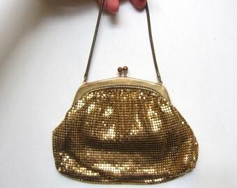 Vintage Mid Century Oroton gold metal mesh evening formal purse
