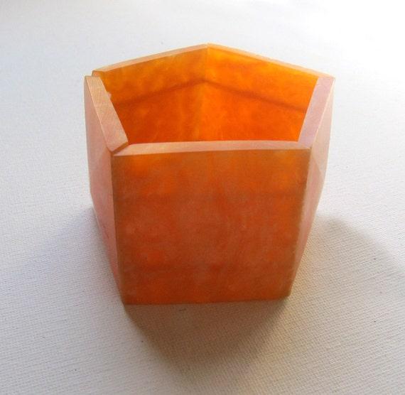 Vintage retro chunky neon tangerine orange pearlised lucite stretch cuff bracelet