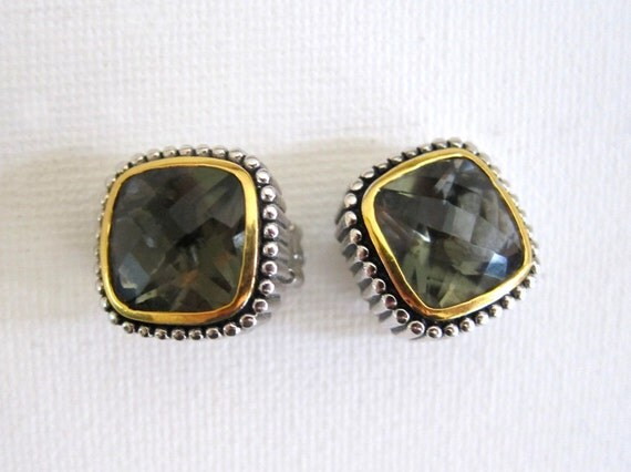 1980s gold and silver faceted glass square button earrings