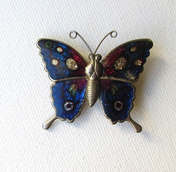 Vintage retro pink and blue silver enamel butterfly brooch