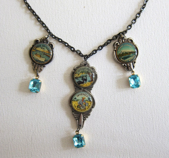 Vintage 1950s silver enamel and necklace with faceted aqua stone OOAK