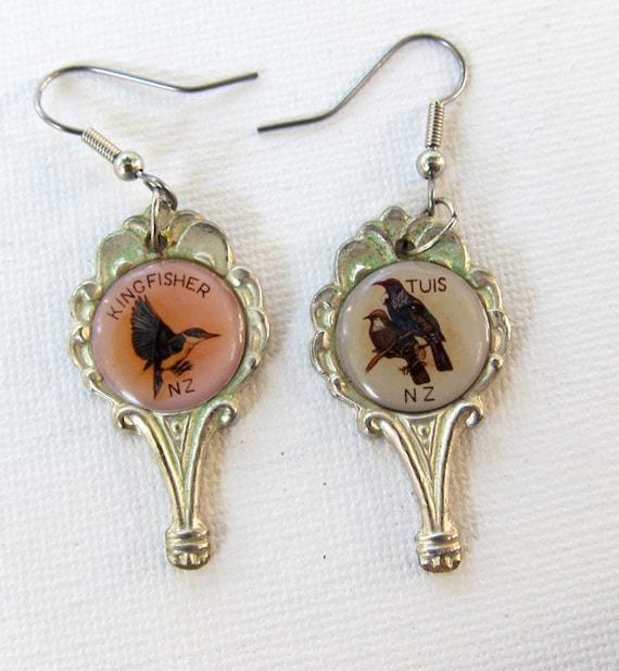 Vintage retro 1950s NZ bird silver drop earrings