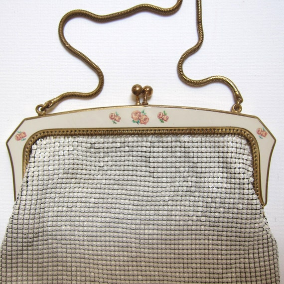 Vintage mid century german cream metal mesh evening purse with enamel roses frame