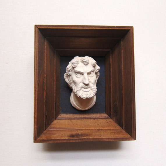 Vintage classic white plaster replica souvenir of maquette or student bust of moses