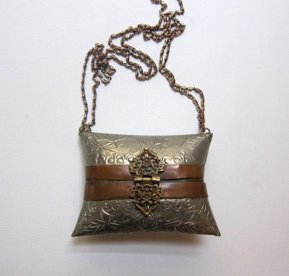 Vintage Indian boho incised silver and copper banded pillow cocktail bag