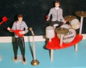 4 HP Beatles-Microphones-And Instruments-Vintage Wilton Cake Toppers