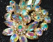 Aurora Borealis Flower Cluster Brooch Vintage Pin Holidays Christmas Special Occasion
