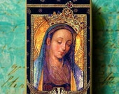 Our Lady of Poland Mother Mary Altered Art Bakelite Domino Pendant Catholic ChristianNecklace Set Black Friday ETSY