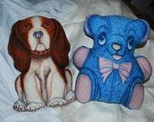 Vintage Pillows SALE 1960s BEAGLE BEAR Dog Teddy Brown White Blue Pink Home Decor Stuffed Animal Bedroom Children
