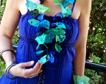 """Ethereal fabric necklace in shades of green and blue - From """"Ocean Song"""" series"""
