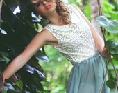 Pastel Green floaty sheer skirt with a scalloped edge