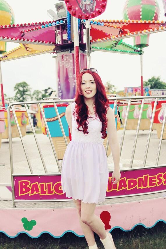 Pretty Lilac chiffon & white lace summer dress