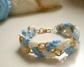 Crochet Bracelet -golden brass- Navy style