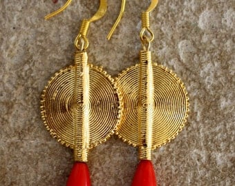 Aflé Bijoux African Earrings: Red Coral Drops Errings