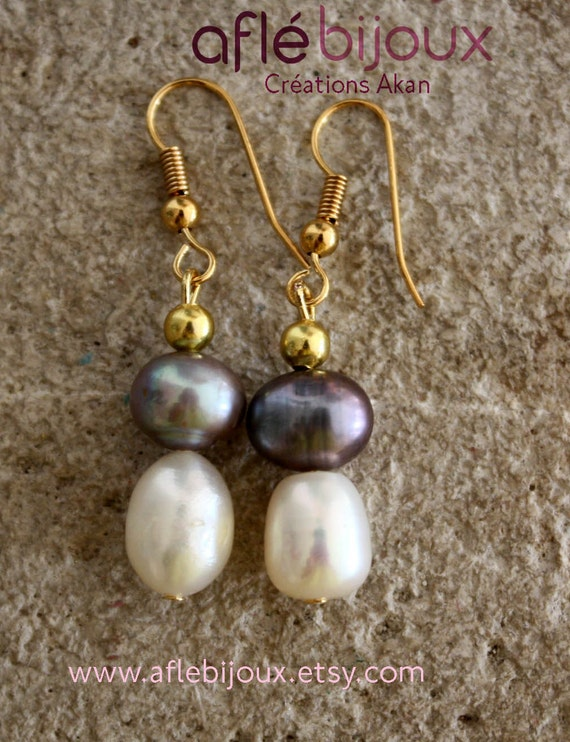 Aflé Bijoux Sweet Water Pearls Earrings - Anthracite
