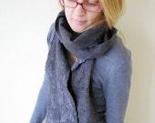 Silver gray silk & wool nuno felt extra long scarf