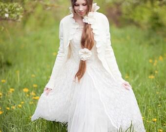 Woodland rustic bridal jacket - merino wool - felted - very soft