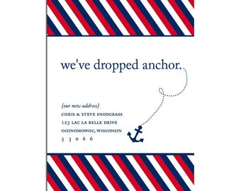 Dropped Anchor Moving Announcement - 4x6 Nautical Card