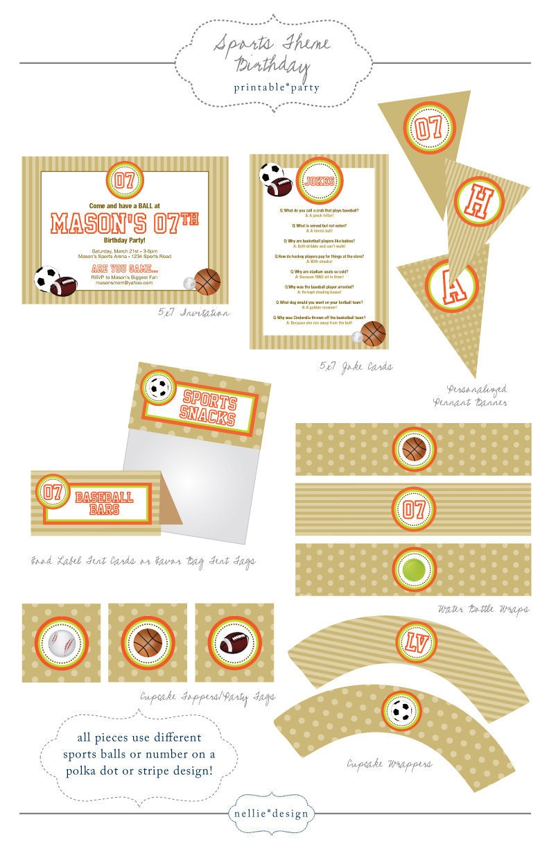 sports theme birthday party printables by nelliev2 on etsy. Black Bedroom Furniture Sets. Home Design Ideas