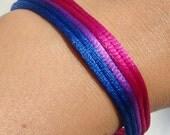 Custom Five Strand Silk Cord Bracelet, Bisexual Bi Pride Jewelry