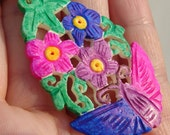 Flower & Butterfly Pendant Necklace, Bisexual Bi Pride Jewelry
