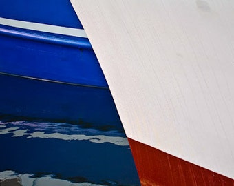 Photography Nautical Print Red White and Blue Sailboat in Blue Water Greeting Card Wall Art