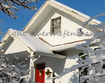 Farmhouse in Snow Christmas Card Red Door Snowflakes in Window