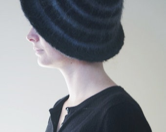 Felted Wool Black & Grey Brimmed Hat