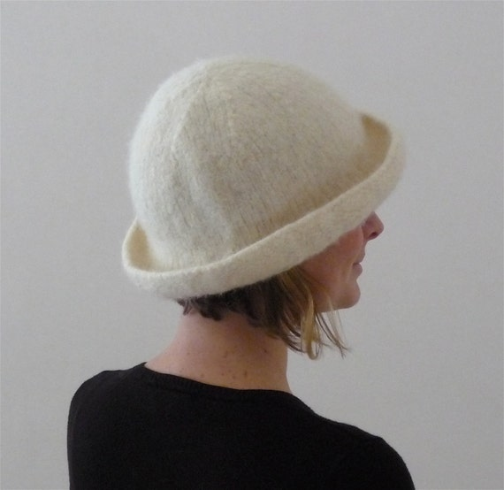 Winter White Tall Brim Felted Hat as seen in Down East Magazine