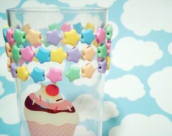 Fairy Kei Pastel Rainbow Candy Stars Beaded Bracelet