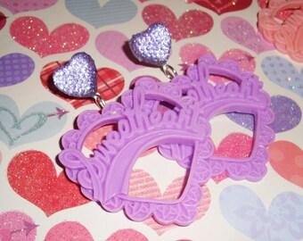 Pretty Purple Sweetheart Rhinestone Heart Dangle Earrings