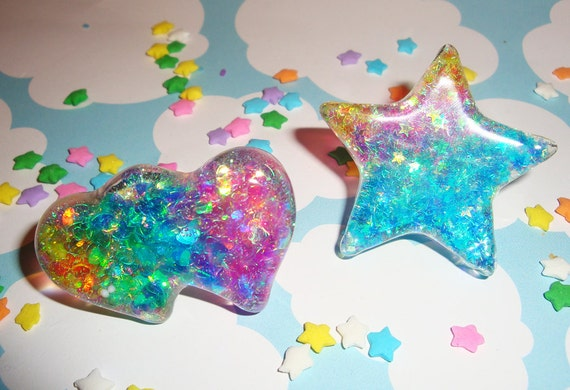 Awesome Rainbow Glitter Stars Resin Ring - Double Heart or Chunky Star