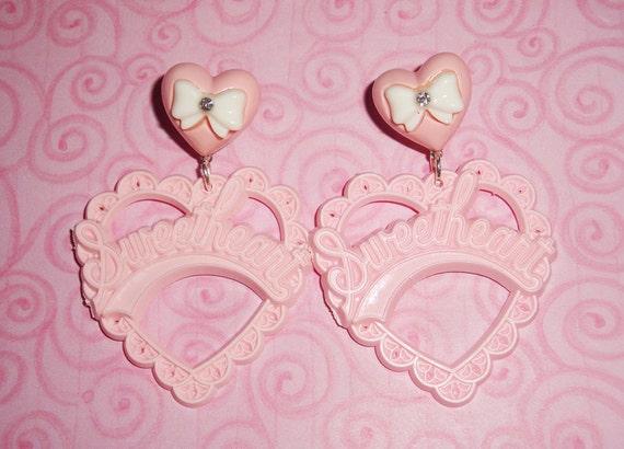 Pretty Pink Sweetheart Puffy Heart Ribbon Dangle Earrings