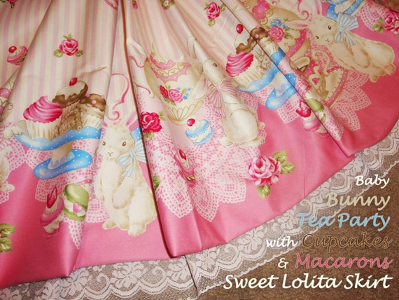 Baby Bunny Tea Party with Cupcakes & Macarons Sweet Lolita Skirt - Pink - ANY SIZE