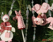 1985 Vintage Painted Pink Wood Christmas Ornaments