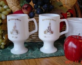 Victorian Milk Glass Walt Disney World Coffee Mugs Souvenir