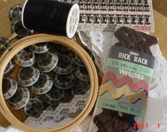Vintage Black White Sewing and Craft Supplies
