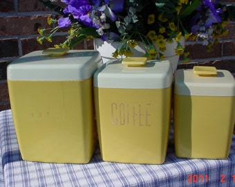 Vintage Harvest Gold CANISTER - Storage Collectible Containers