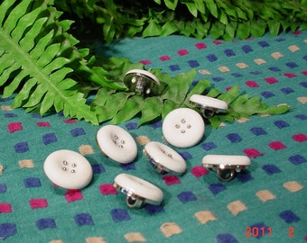 8 White BUTTONS Vintage