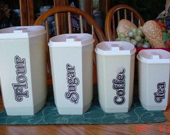 Vintage Honey Beige Canister set
