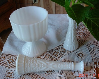 Vintage Milk Glass White Wedding Vases and Compote