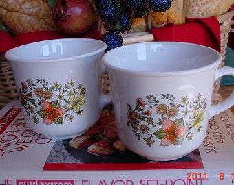 Vintage 1970s Corelle INDIAN SUMMER Coffee Mugs Tea Cups